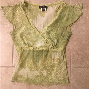 Bebe Green Lace Mesh Top Blouse XS
